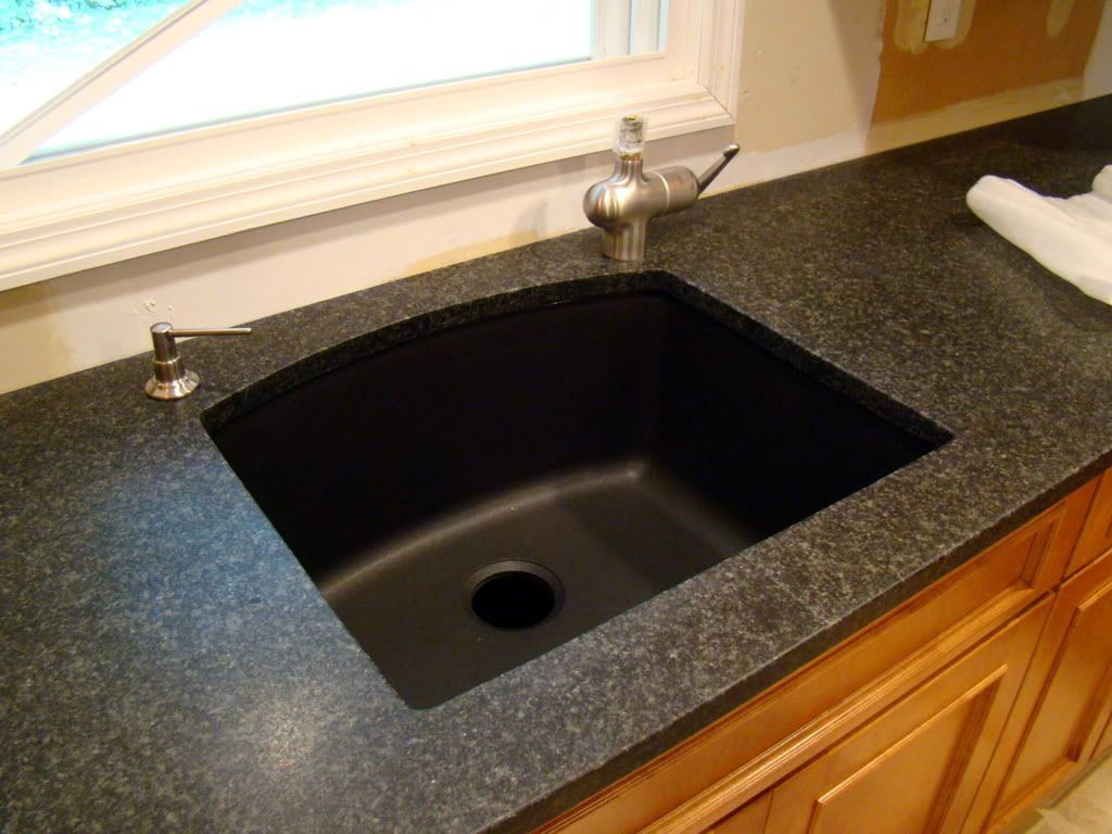 neat design black kitchen countertops. Simple and Neat Decorating Ideas using Rectangular Black Sinks  Granite Countertops also with Silver