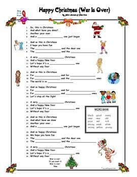 Happy Christmas Song By John Lennon With Blanks John Lennon Christmas Song Christmas Worksheets Xmas Songs