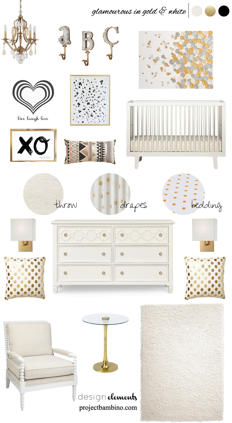 white and gold nursery | Baby Area | Pinterest | Gold nursery ...