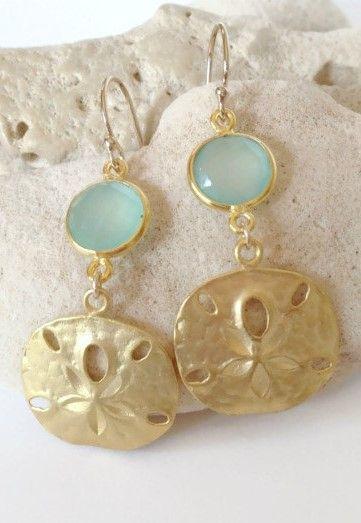 Sand Dollar Earrings Jewelry Beach Wedding Aqua