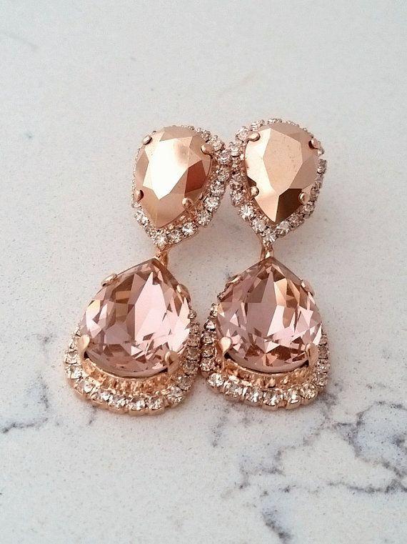 Rose gold Chandelier earrings,Rose gold morganite Bridal earrings ...