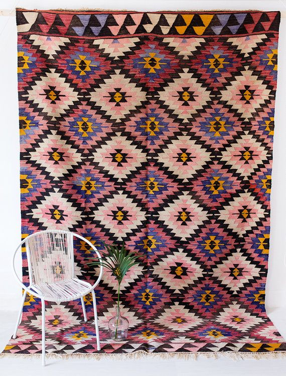 Reserved Vintage Turkish Kilim Rug The Camden Diamond Pattern