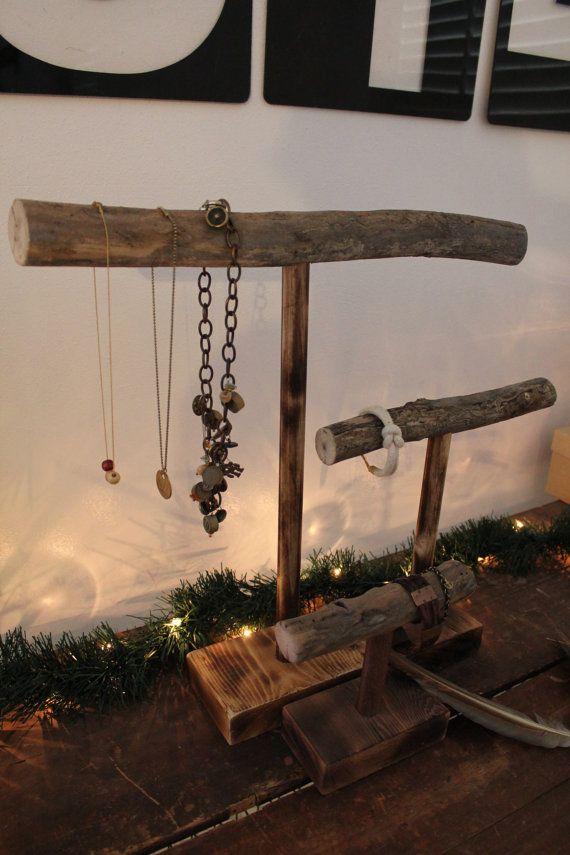 wooden branch jewelry stand large dark finish mercyme pinterest pr sentoir bijoux. Black Bedroom Furniture Sets. Home Design Ideas