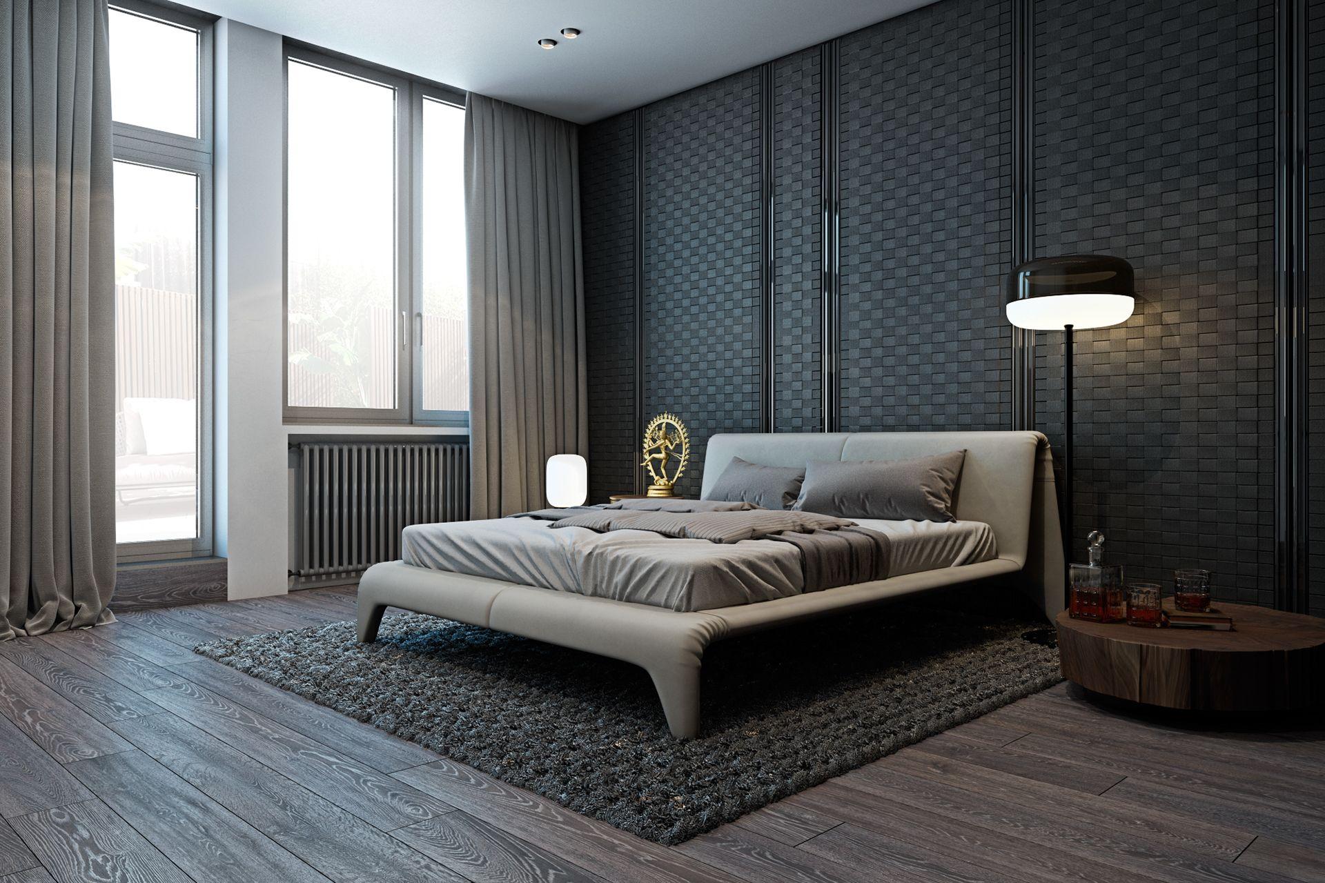 Modernes Polsterbett In Grau Und Wandverkleidung Mit Metall Struktur    Bedroom Design   Pinterest   Bedrooms And Interiors