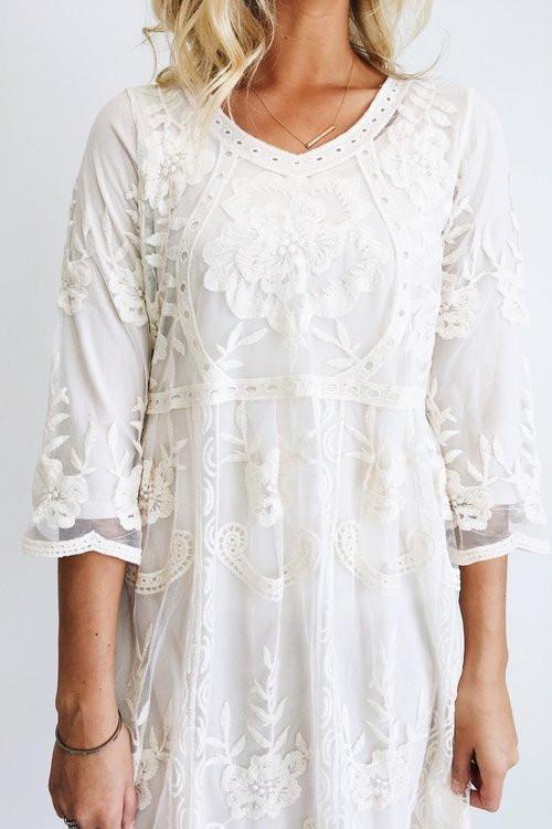 White Lemon Print Tie Back A Line Dress | A line dress