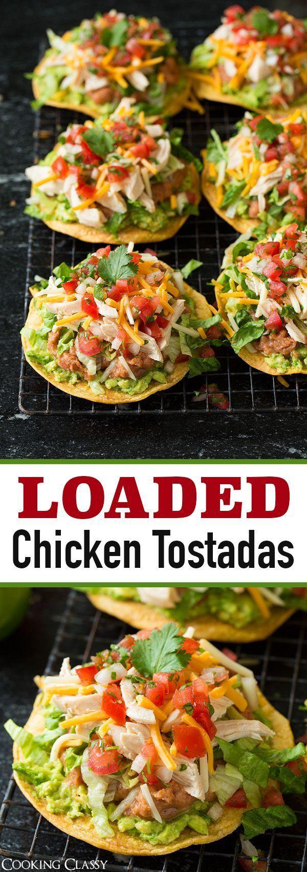 Chicken Guacamole and Bean Tostadas #chicken #guacamole #tostadas #healthyrecipes