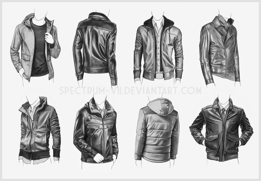 Some practice with various jacket styles, studied from