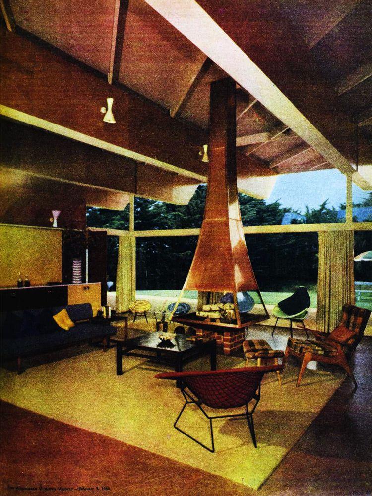 Australian 1960 interior with fireplace. Australian Womens ...