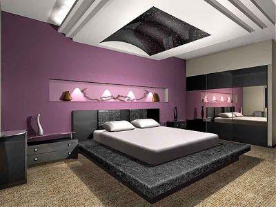 ديكورات لجميع درجات اللون البنفسجي في دهانات الحوائط والجدران تناسب غرف النوم Purple Bedrooms Purple Bedroom Woman Bedroom