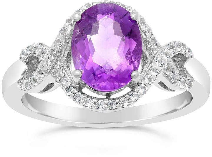 Fine Jewelry Womens Purple Amethyst Sterling Silver Cocktail Ring MCwDfCKsm