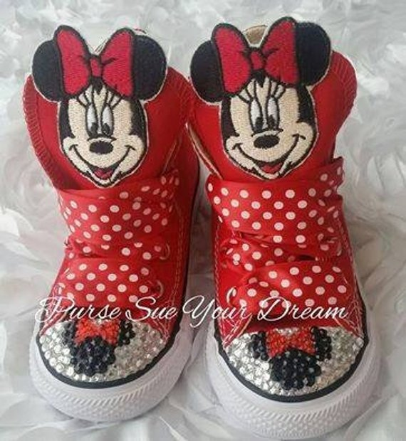 cec2393a410f3 Custom Minnie Mouse Swarovski Crystal Rhinestone Converse Shoes ...