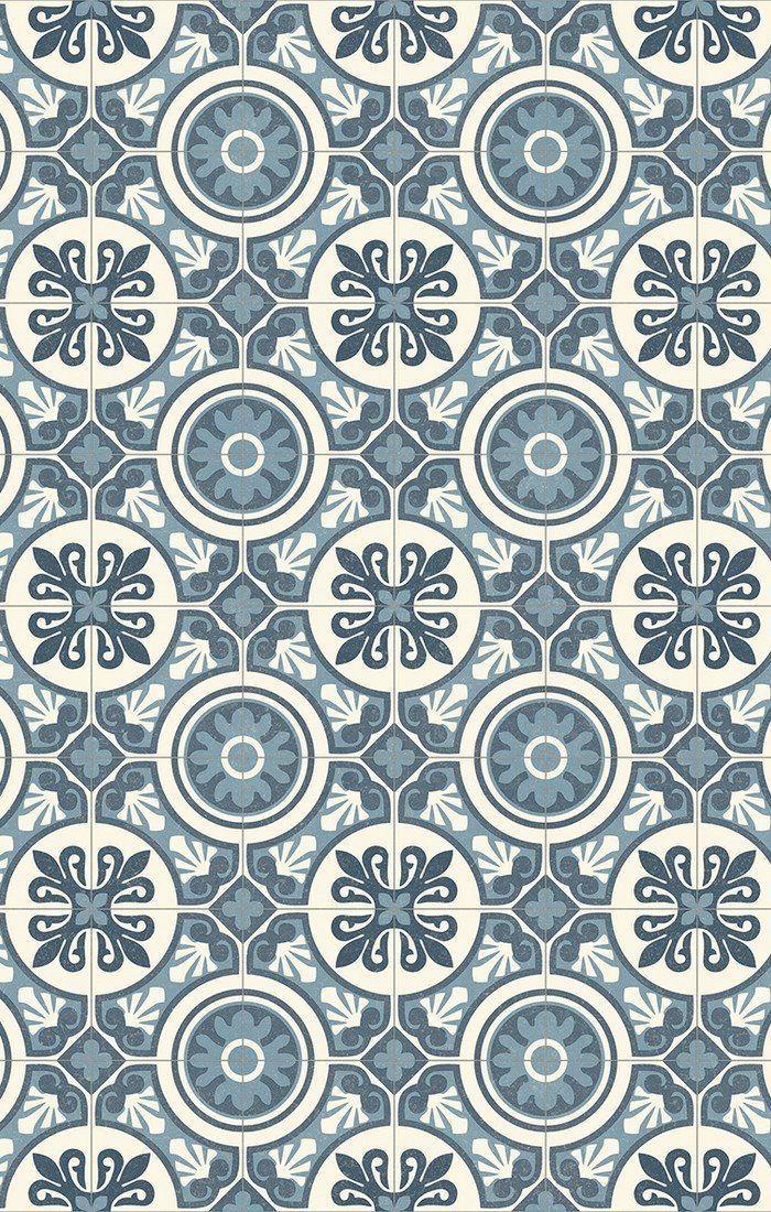 Sehr PVC (14€/m²) CV Bodenbelag Bfl/S1 Retro Design grau blau 200 cm  FM61