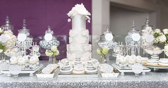 Superb Andrej U0026 Joyceu0027s Elegant Silver U0026 White Dessert Table By Au0026K Lolly Buffet