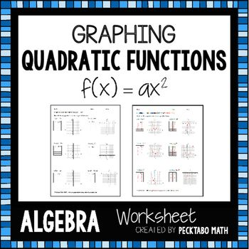 Graphing Quadratic Functions F X Ax 2 Algebra Worksheet Free