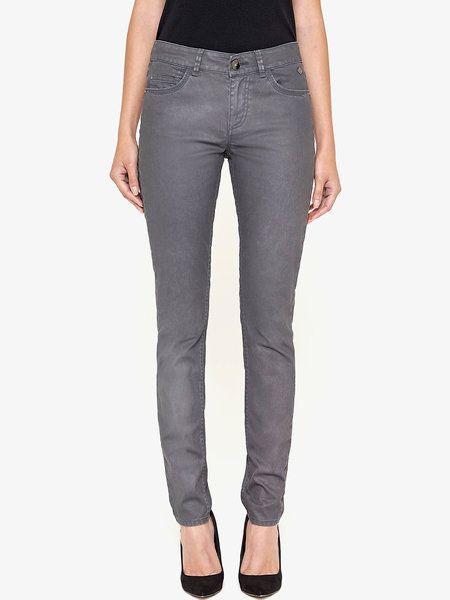 Gray H-line Solid Casual Skinny Leg Pants