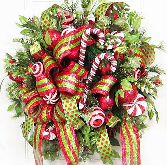 Holiday Christmas Door Wreath, Wreaths, Deco Mesh, Candy Canes, Full - christmas decorations sale