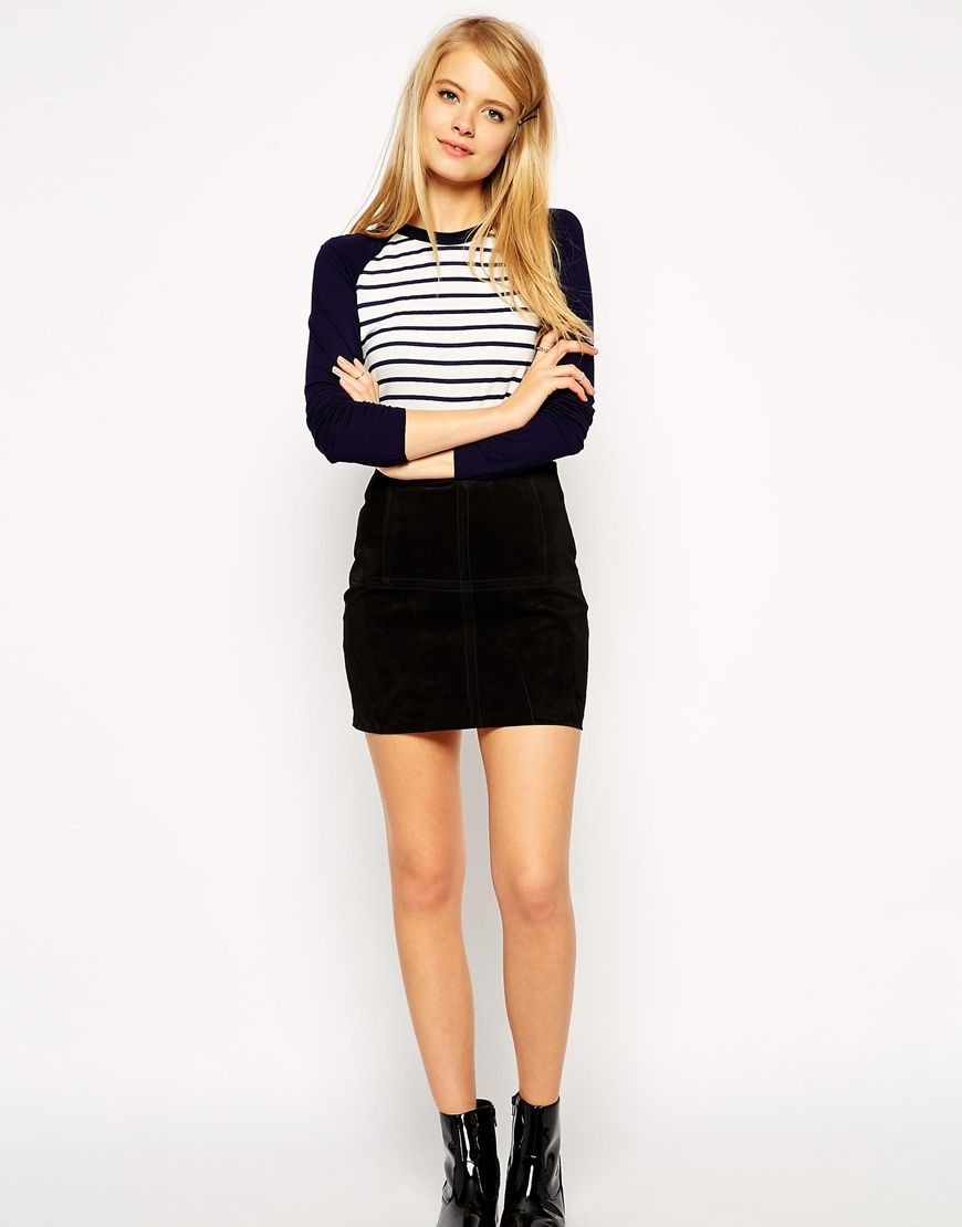 Buy NOW ASOS Mini Skirt in Suede - Black - http://www.fashionshop ...