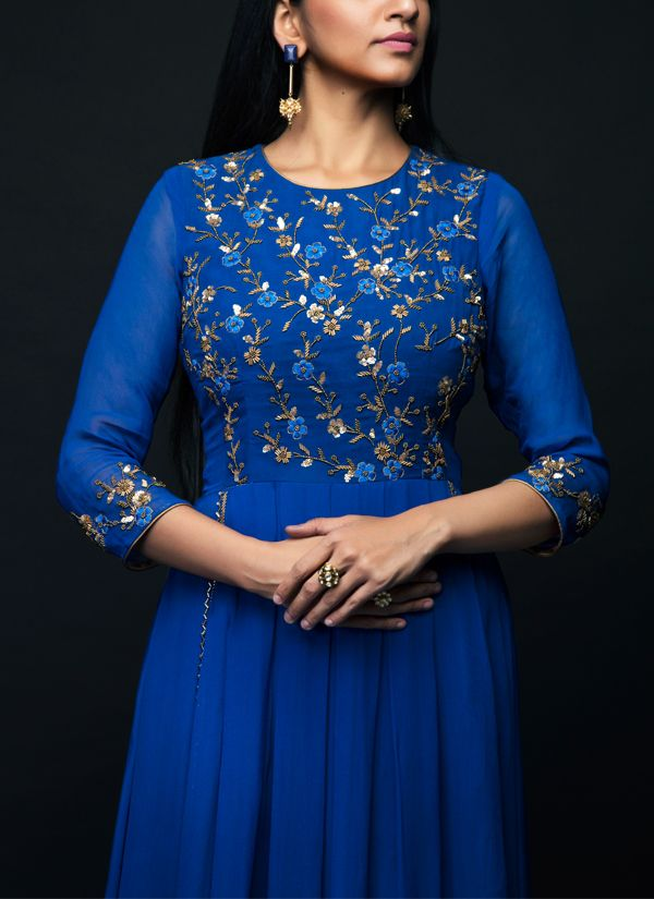 b38e2c8788b80 Indian Fashion Designers - SHIVAZZ by Angad Siddhu - Contemporary Indian  Designer - Royal Blue Georgette Pleated Gown