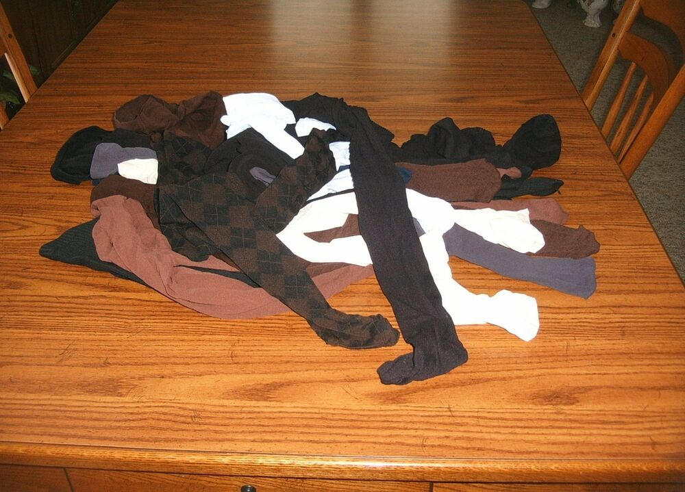 82e98fe156deb Lot Of 12 used Worn pantyhose tights Opaque Lg & Plus Sizes Assorted ...