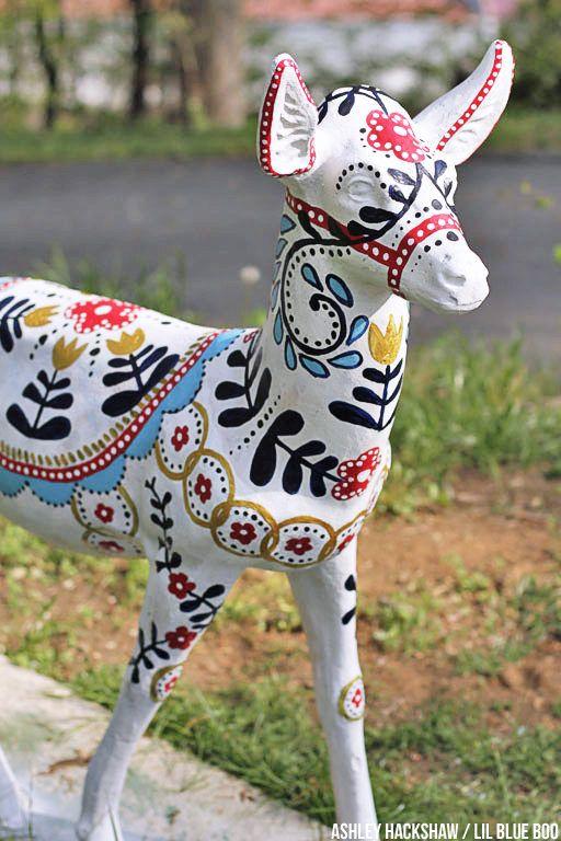 Painted Concrete Deer Upcycling Concrete Garden Decor Ashley Hackshaw Lil Blue Boo Painting Concrete Concrete Garden Concrete Garden Statues