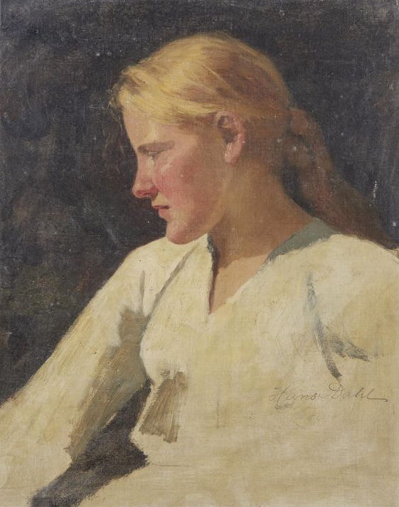 Sketch of a Girl in white Blouse - Hans Dahl