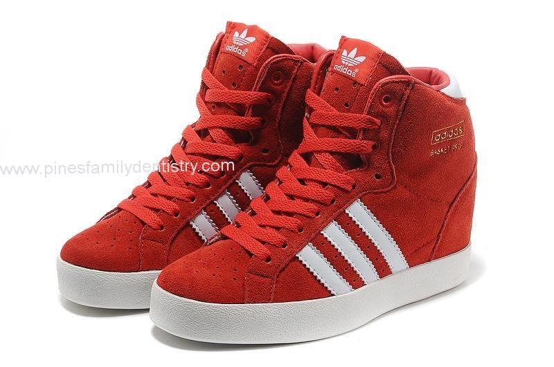 Adidas Entrega Rápida - Adidas trébol Mujeres Sky Hi Cuñas Rojo Blanco MM10585