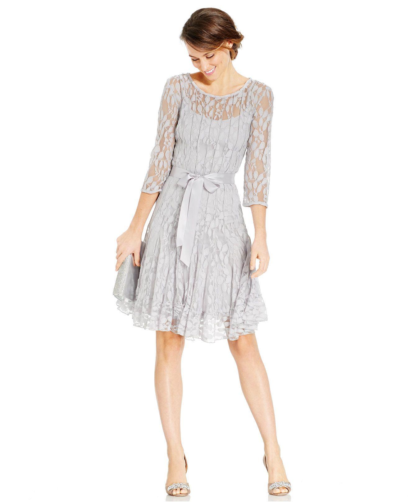 Msk illusion floral lace dress dresses women macyus