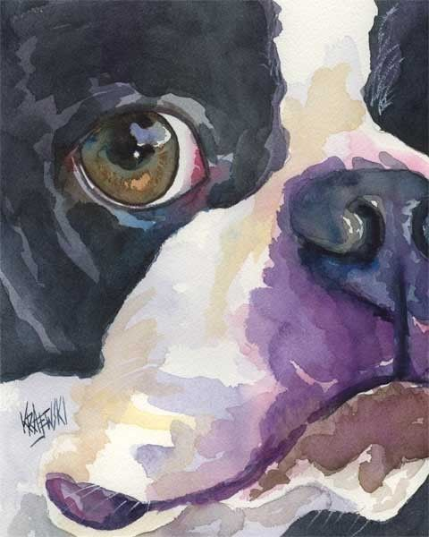Boston Terrier Painting Art Print Of Original Watercolor Boston