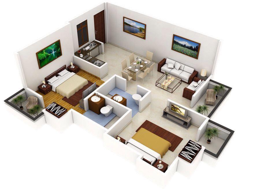 21 Ev Plan'ı  Dekorasyon  Pinterest Magnificent 2 Bedroom House Interior Designs Inspiration