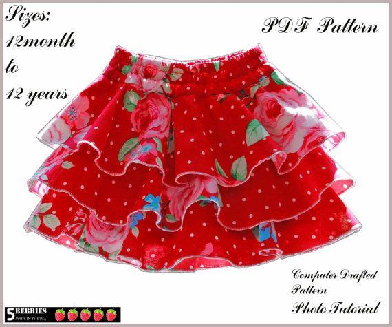 Emma Twirl Girls Skirt Pattern, Girls Shorts Pattern, Skort, Sewing ...