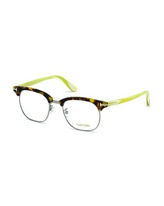 Acetate/Metal Eyeglasses, White Horn by Tom Ford at Neiman Marcus.