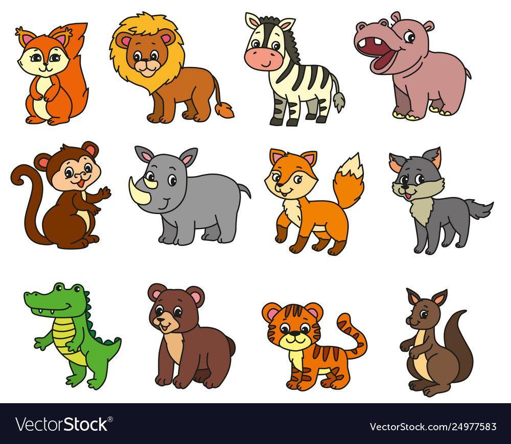 Wild animals cartoon vector image on
