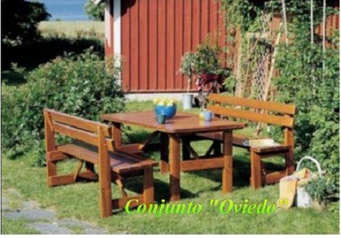Mesa y bancos de madera de pino n rdico mesa y bancos for Mesas de madera para jardin