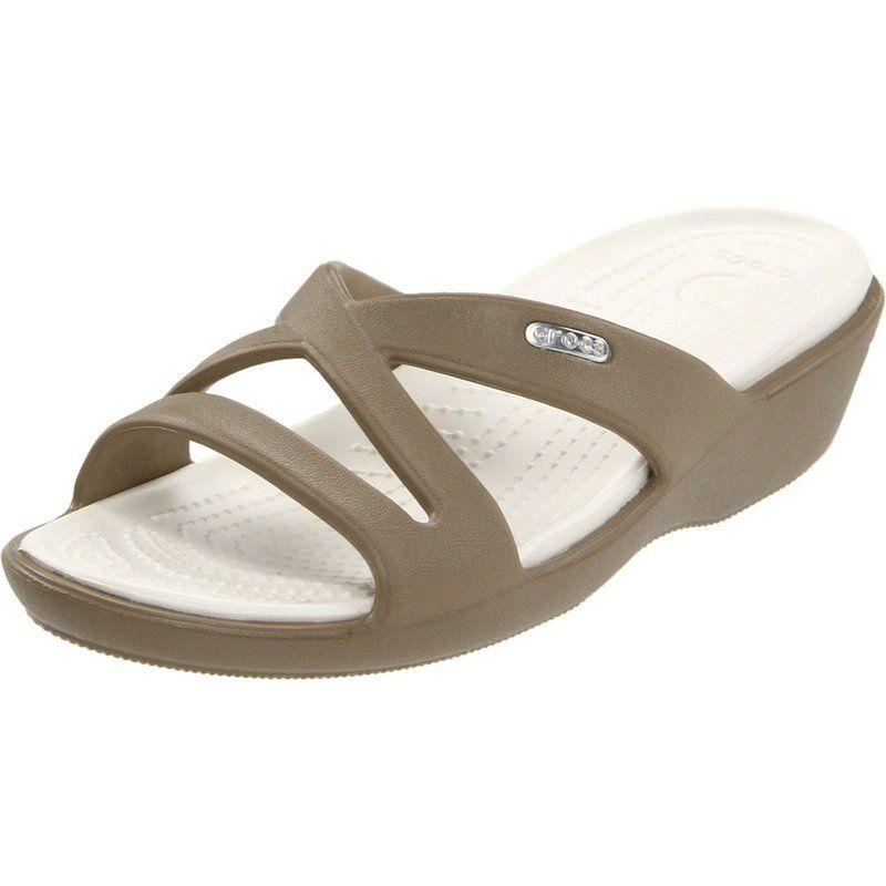 Womens Crocs Patricia Sandal Oyster Gold Sandal Flip Flop