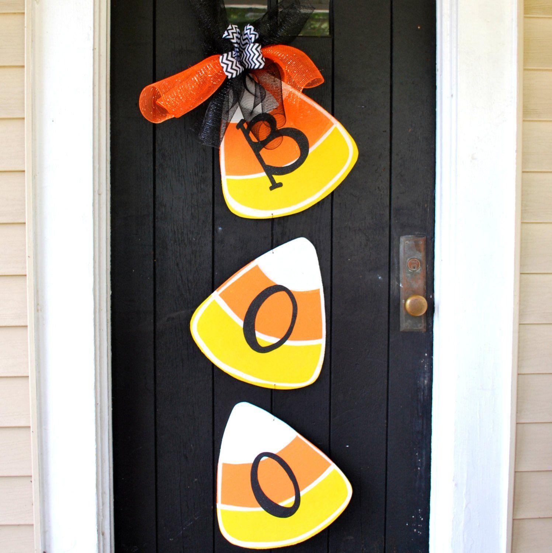 Halloween Wreath, Door Hanger: Halloween, Candy Corn, Door ...
