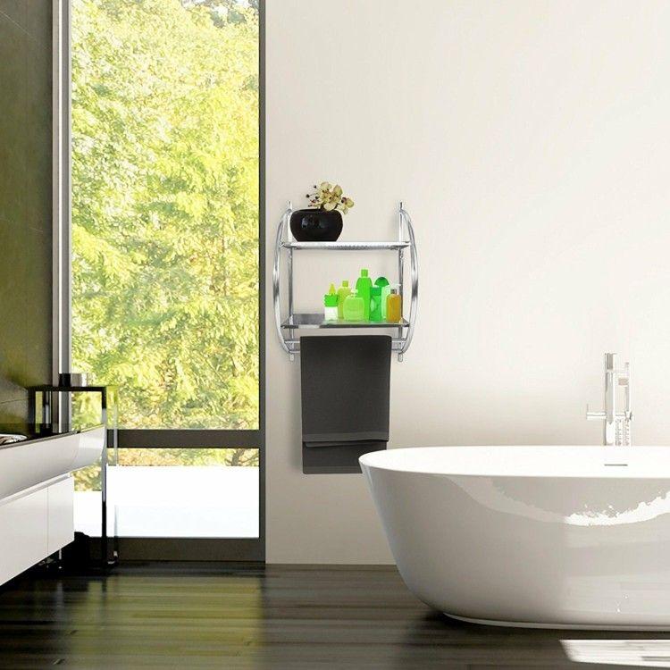 Small Bath Towel Rack Wound Space Saving Tub Parquet