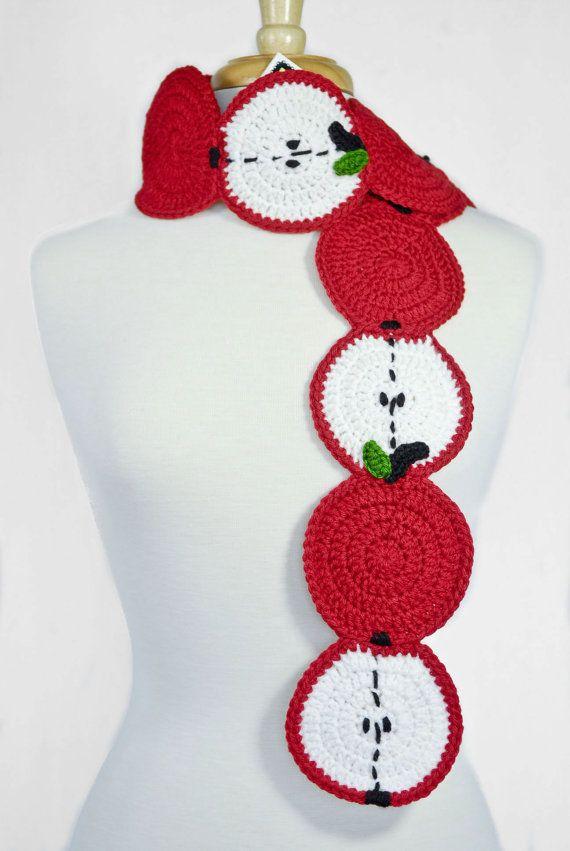 Apple Scarf-Crochet Scarf - Food Scarf - Fruit Scarf - Kawaii ...