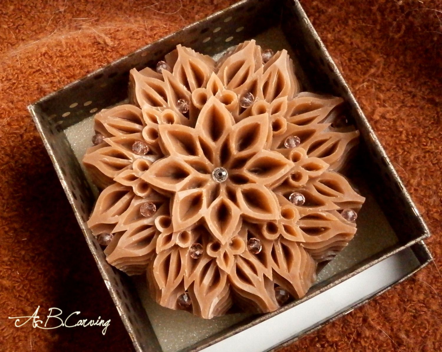 Handmade Carving soap, hand carved soap, cinnamon carving soap, mandala carving soap, glycerine carving soap, lavender cinnamon round soap by ABCarving on Etsy