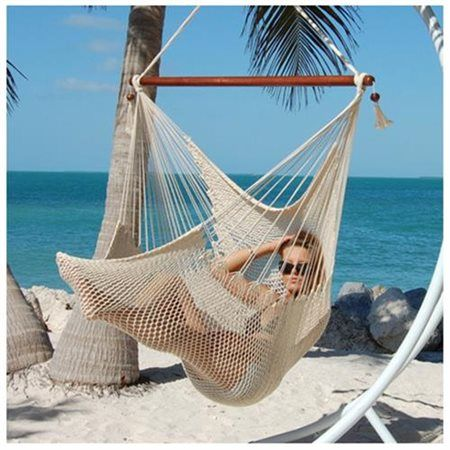 Large Caribbean Hammock Chair With Footrest  48 Inch  Polyester Hanging  Chair Cream