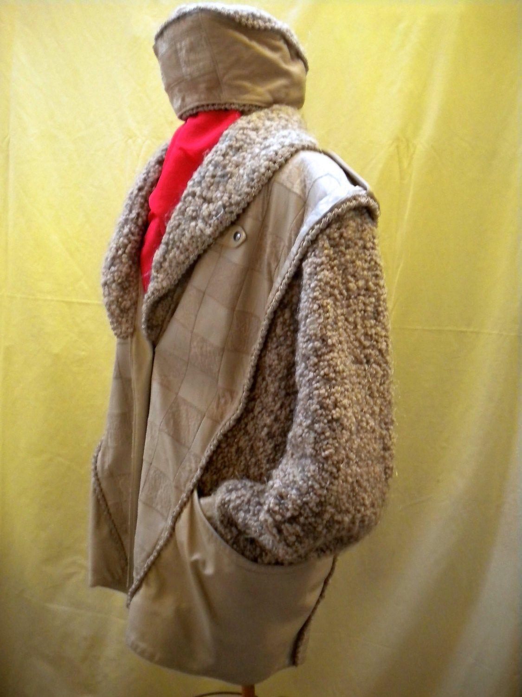 LEATHER JACKET Designer vintage Beige Rare 'NORMA' Canada Hollywood OneofaKind Unisex Coat textured Luxury Women's Men's WovenWool Mohair
