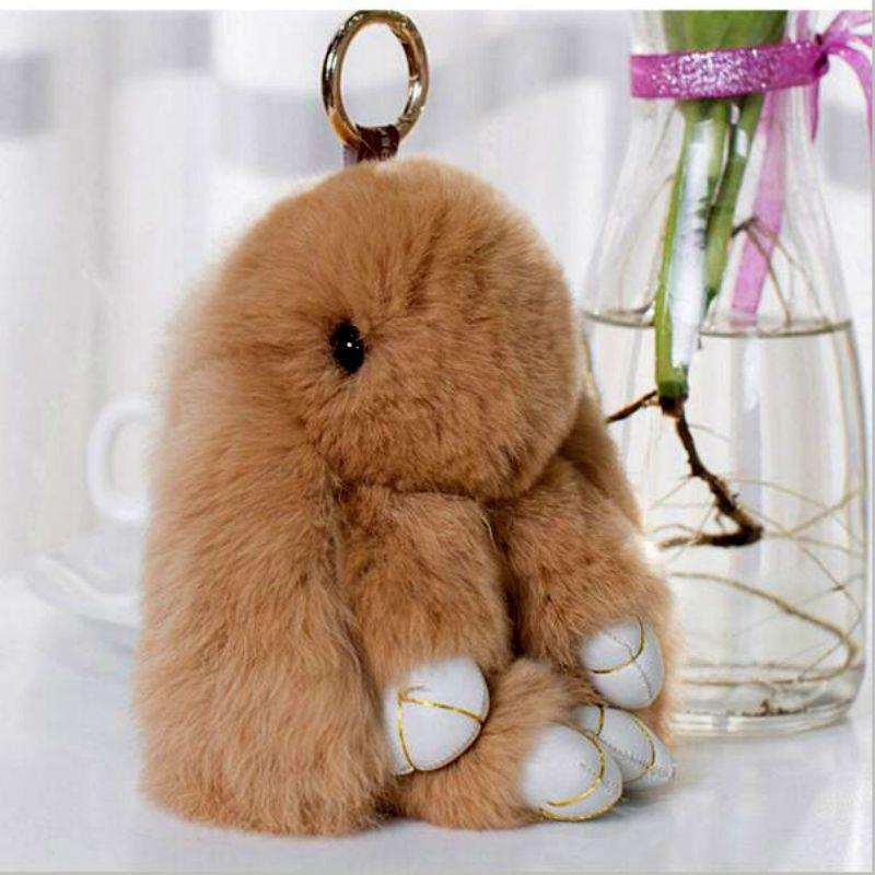 53ffc00796 Rabbit Keychain Cute Fluffy Bunny Keychain Rex Genuine Rabbit Fur Pompom  Key Ring Pom Pom Toy Doll Bag Charm Car Key Holder 13CM
