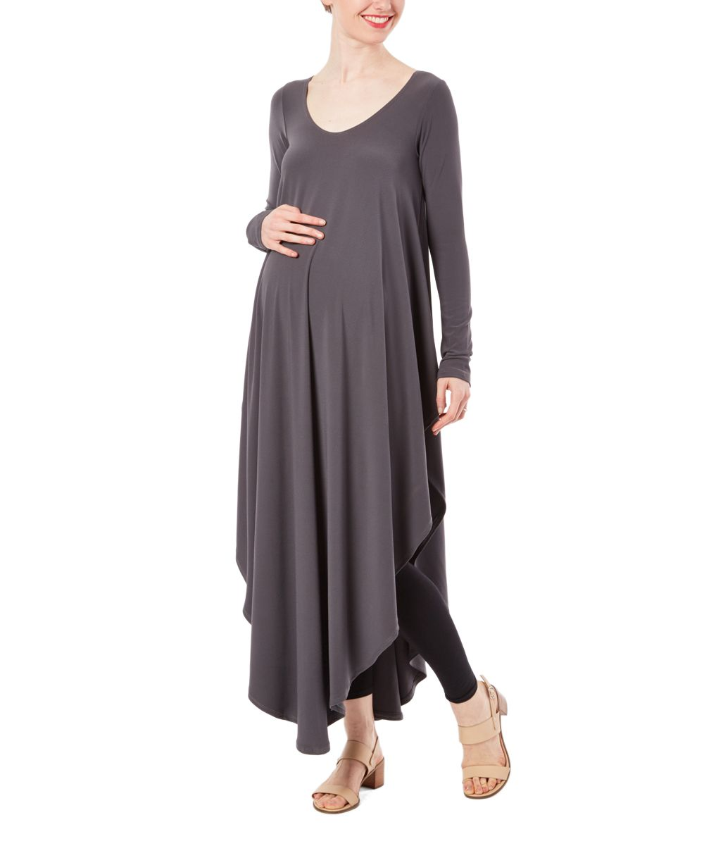 Casa lee charcoal asymmetrical longsleeve maternity maxi dress