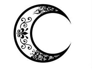 Tribal Crescent Moon Floral Tattoo  Tabatha