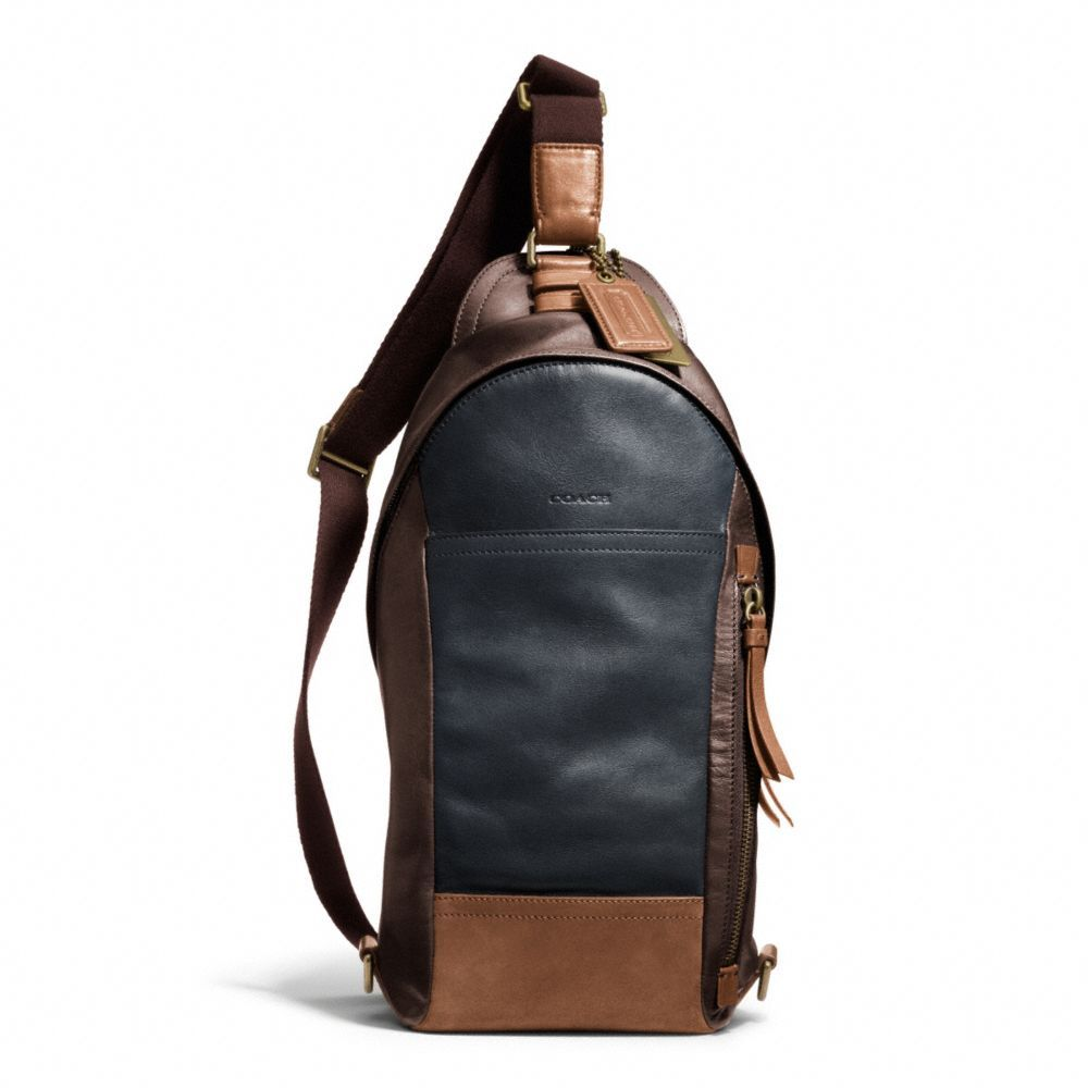Coach Mens bleecker leather colorblock convertible sling pack ...