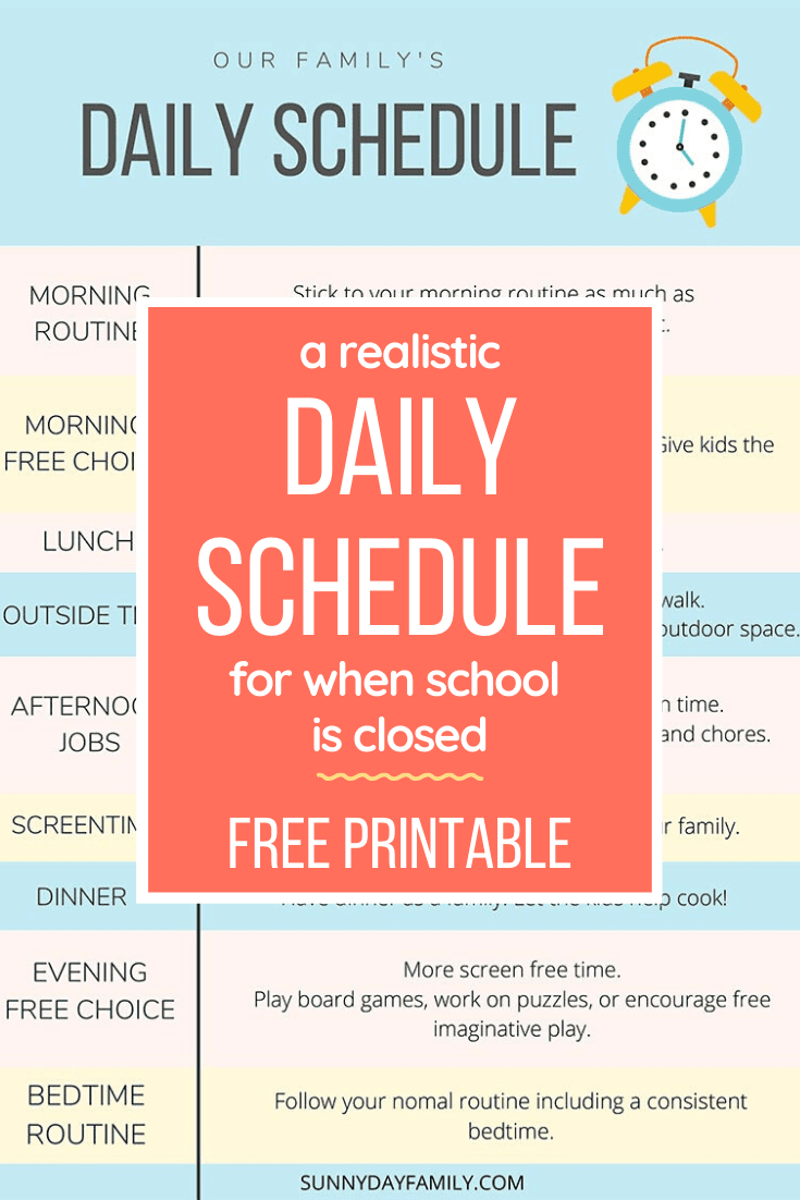 A Realistic Schedule For Kids At Home During A Shutdown Free Printable Guide For Moms In 2020 Kids Schedule Daily Schedule Kids Business For Kids