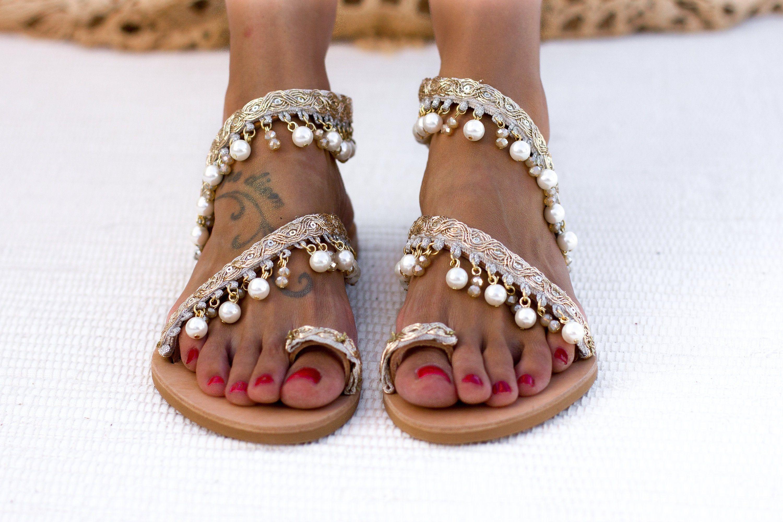 "Women wedding sandals, Bridal sandals Wedding shoes, Pearl sandals, wedding flat sandals, Handmade to order sandals ""Armonia"""