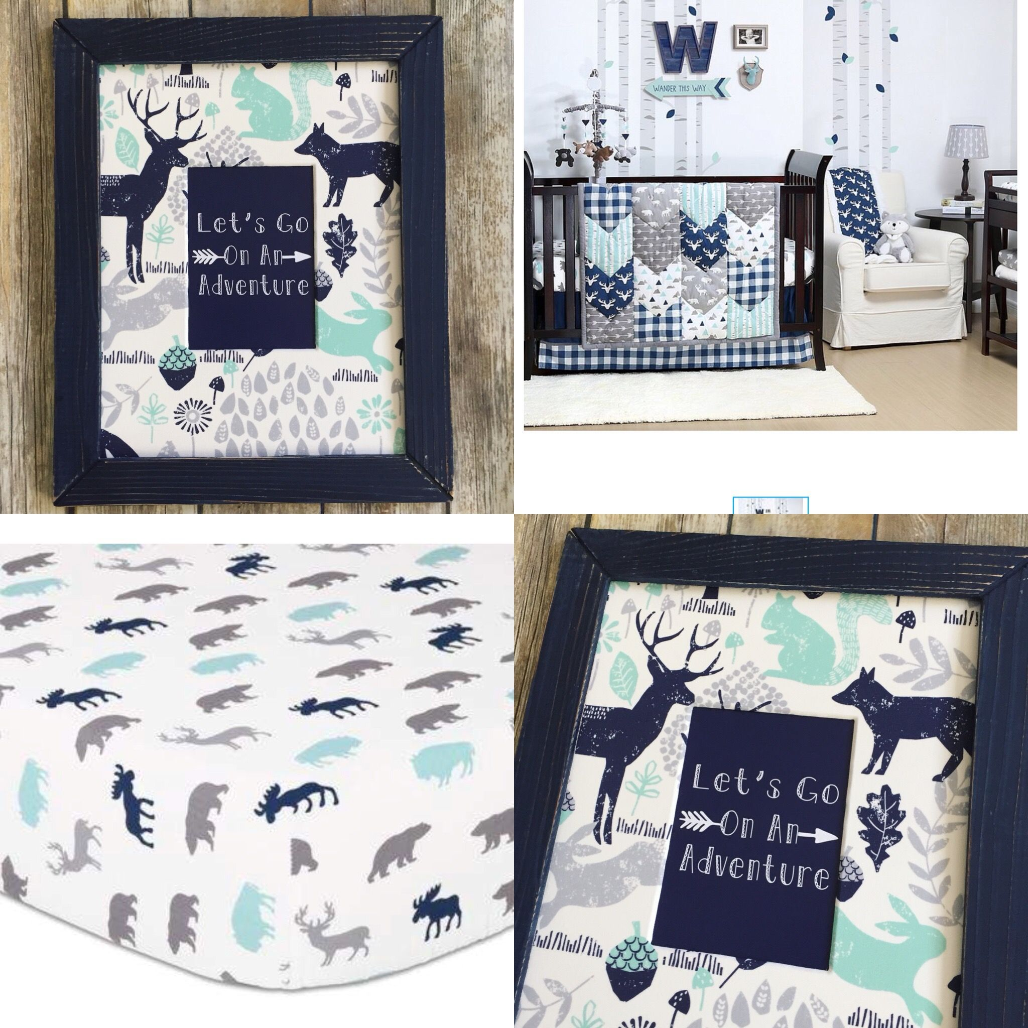 Woodland Trails Nursery Decor Aqua And Navy Blue Nursery Boy Etsy In 2020 Nursery Room Boy Baby Boy Room Nursery Grey Nursery Boy