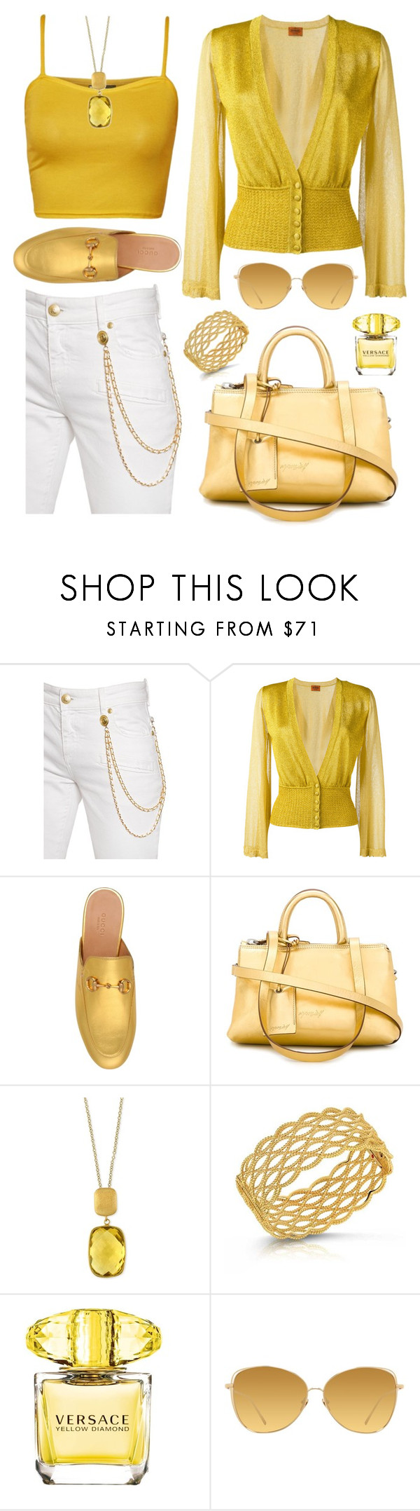 """""""Untitled #1940"""" by ebramos ❤ liked on Polyvore featuring Pierre Balmain, Missoni, Gucci, Marsèll, Effy Jewelry, Roberto Coin, Versace and Linda Farrow"""