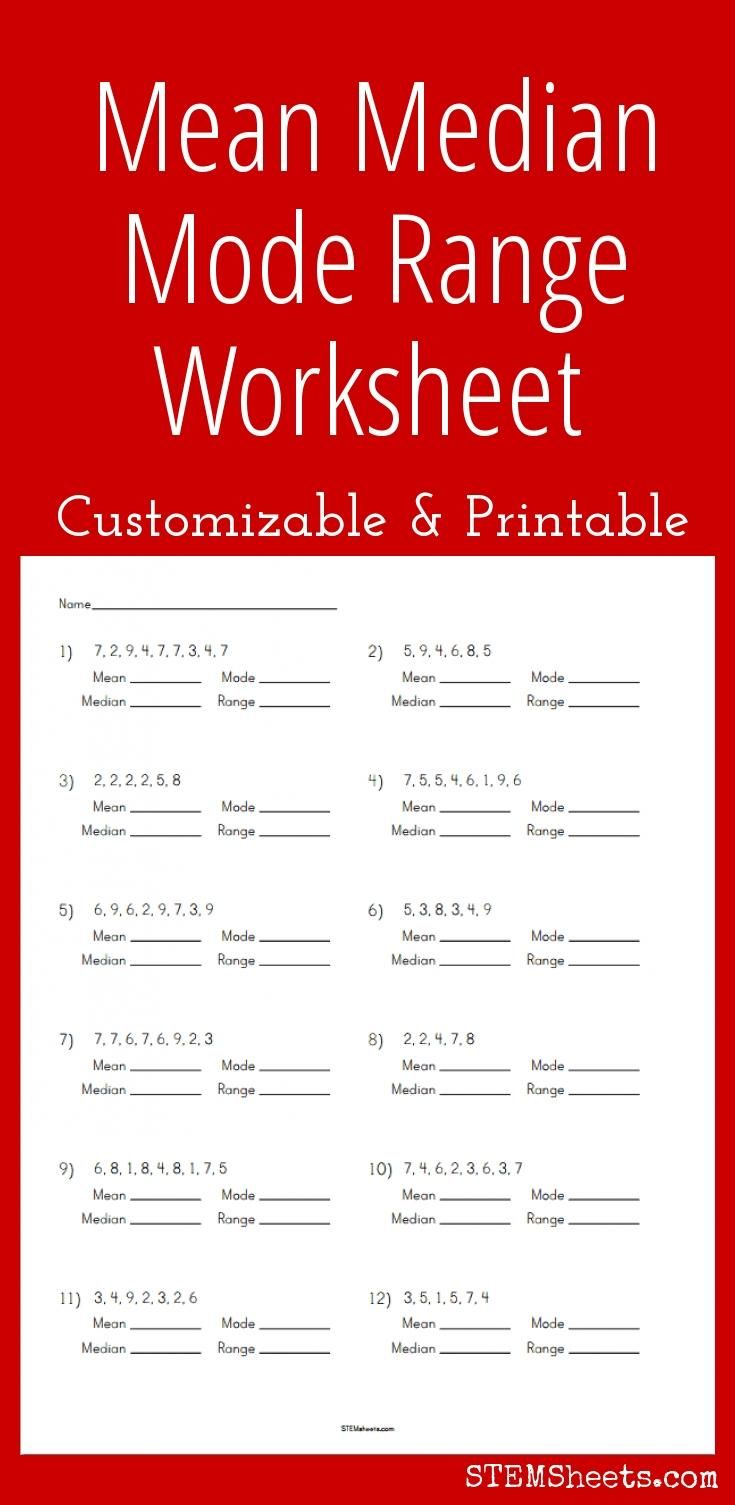 customizable and printable mean median mode range worksheet math stem resources pinterest. Black Bedroom Furniture Sets. Home Design Ideas