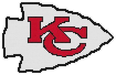Counted-Cross-Stitch-Pattern-Kansas-City-Chiefs-Logo-Free-US-Shipping